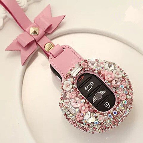 Bling Bedazzled  BMW Mini  F54 F55 Key Leather Case with bow - Pink
