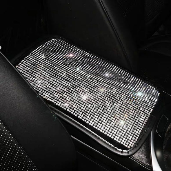 Bedazzled Silver Crystal Bling Car Center Console Cover - Custom Size Available