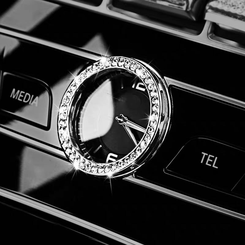 Round Bling Mercedes Benz Emblem For Center Clock Crystal