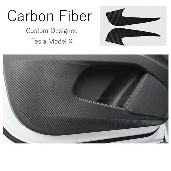TESLA Model X Carbon Fiber Glove Box Cover Stickers Door Kicking Protective (2 Pcs)