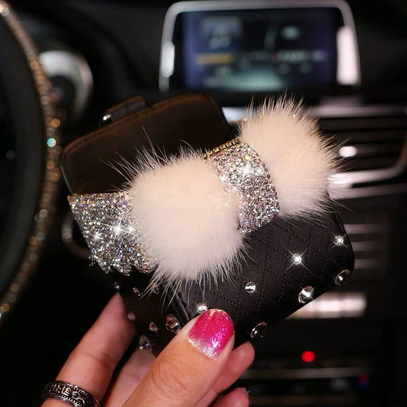 Bling Car Air Vent Sunglasses cell phone holder with Fur Bow and Rhinestones