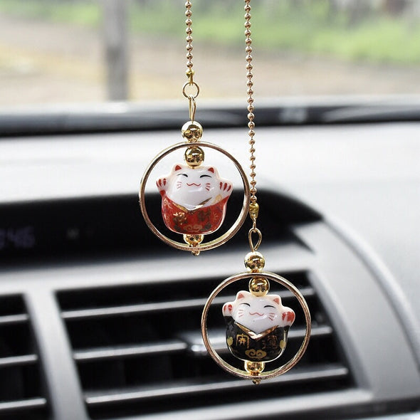Car Cute Charm-Japanese Bobtail Fortune Cat Mirror hanging