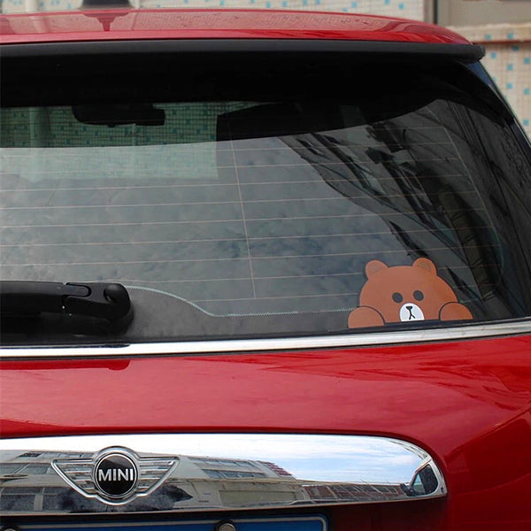 Mini Cooper Decal Peeking Cartoon Brown Bear Yellow Duck Rabbit Cute Sticker Beetles