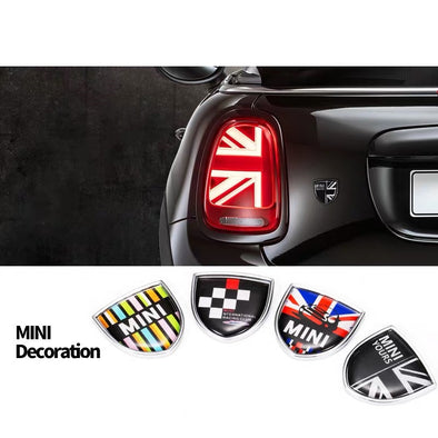 Leaf Shaped Metal Sticker decal for Mini Cooper -Jack Union Checker Rainbow Bulldog 12 Patterns