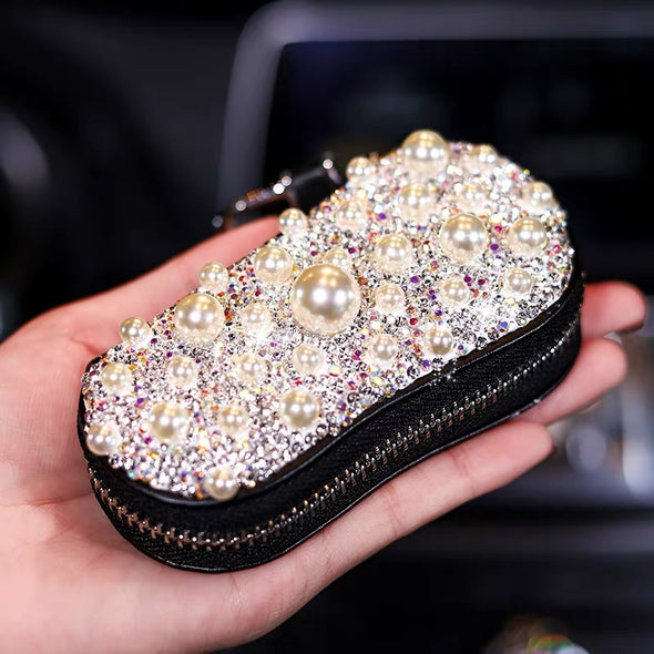 Bling Car Key Holder Case Bag with Rhinestones and Pearls