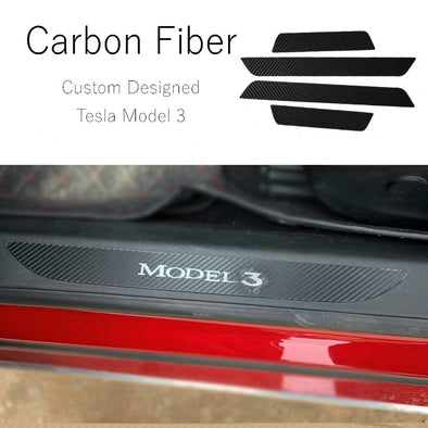 TESLA Model 3 Custom Designed Door Sill Protection Cover Anti-Scratch Carbon Fiber Stickers (4 Pcs)