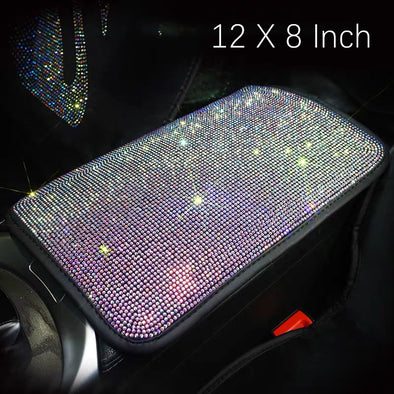 Bedazzled AB Crystal Bling Car Center Console Cover - Custom Size Available