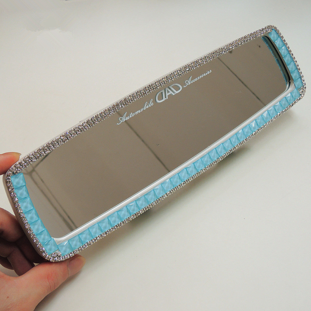 Bling Bling Car Rearview Mirror Rhinestones Clip-on Chrome - Light Blue - Carsoda