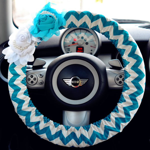 Blue Chevron Steering wheel cover with Blue and White Flowers - Carsoda