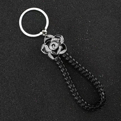 Braided Leather with Bling Camellia Flower Key Chain Keychain
