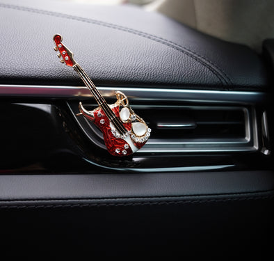 Bling Guitar Car Decoration Air Vent Refreshener Ecofriendly Natural Scent (Black Vanilla) with Refill