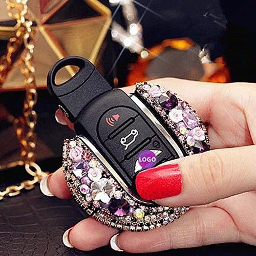 Bling Bedazzled BMW Mini F54 F55 Key Holder with Rhinestones- Purple