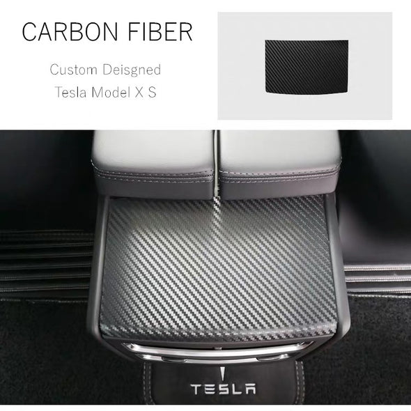 TESLA Model X/S Custom Designed Rear Air Conditioning Vent Panel Anti-Scratch Carbon Fiber Stickers