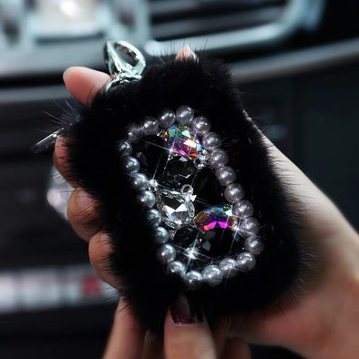 Bedazzled Car Key Holder Bag Case with Bling Rhinestones and fur