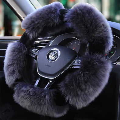 Round Shaped Fluffy fur Sherpa Steering wheel cover for Winter