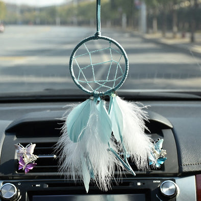 Teal Dream Catcher Car Mirror Charm Ornaments Rearview Mirror Pendant Tiffany Blue