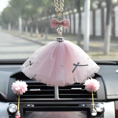Car Charm Pendant- Bling Tulle skirt Wedding dress Rear View Ornament