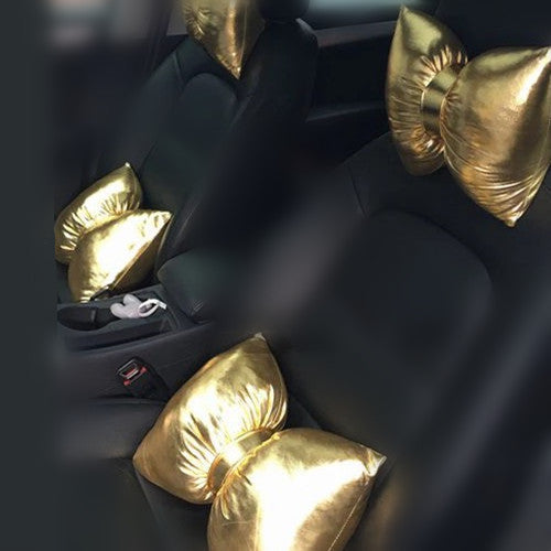 Chrome Golden Bow Car Seat Headrest Pillow