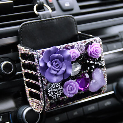 Purple Bling Rhinestone Car Cell Phone Container