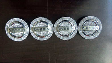 Bling Nissan LOGO Stickers for wheel Center Caps Emblem Decal Made w/ Rhinestone Crystals