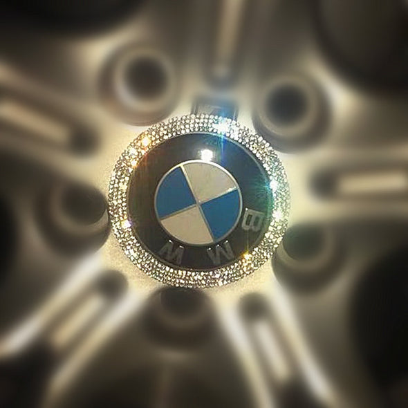 Bling BMW LOGO Stickers for Tire wheel Center Caps Emblem Decal Made w/ Rhinestone Crystals