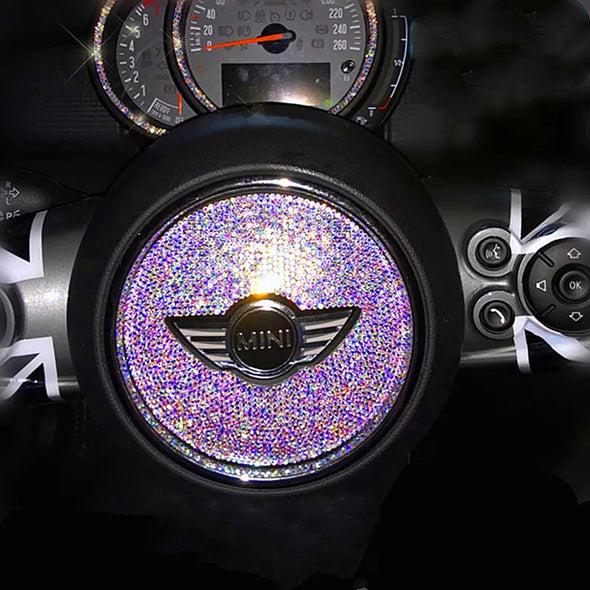 AB Crystal Bling MINI Bedazzled Steering Wheel Sticker for Mini Cooper Countryman Clubman F55 F56 F54