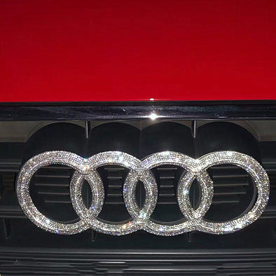 AUDI Bling LOGO Front or Rear Grille Emblem Decal w/ Rhinestone Crystals Custom Made
