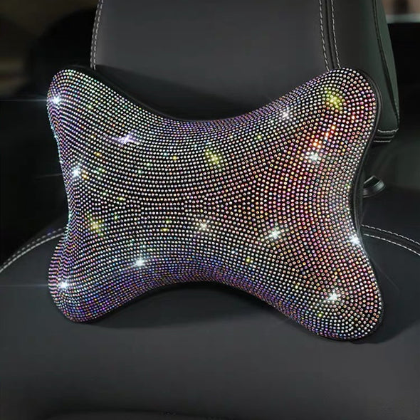 AB Crystal Multicolored Bling Headrest Pillow for Cars