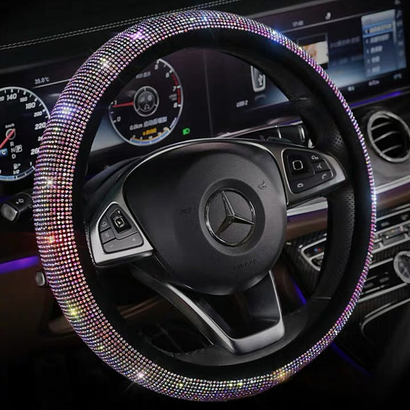 AB Crystal Multicolored Bling Bedazzled Steering Wheel Cover with Rhinestones