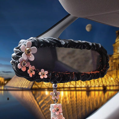 Black Leather Rearview Mirror Cover with daisy - Carsoda