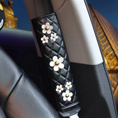 Black leather Seat Belt Cover with Daisy - Carsoda