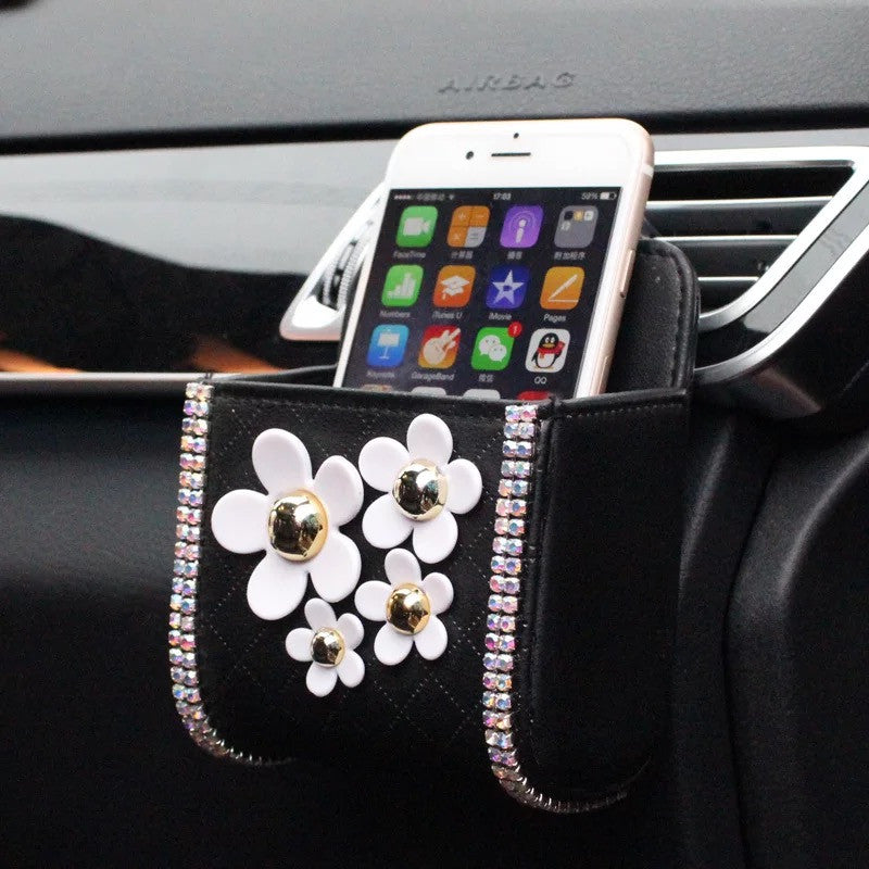 Bling Flower Car Air Vent Sunglasses cell phone holder with Daisy - Carsoda - 1