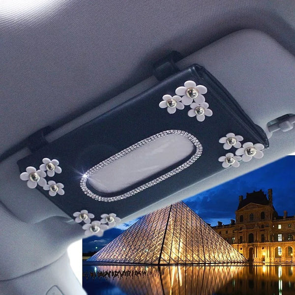 Car Sun Visor Organizer Tissue Box with Daisy - Carsoda - 1