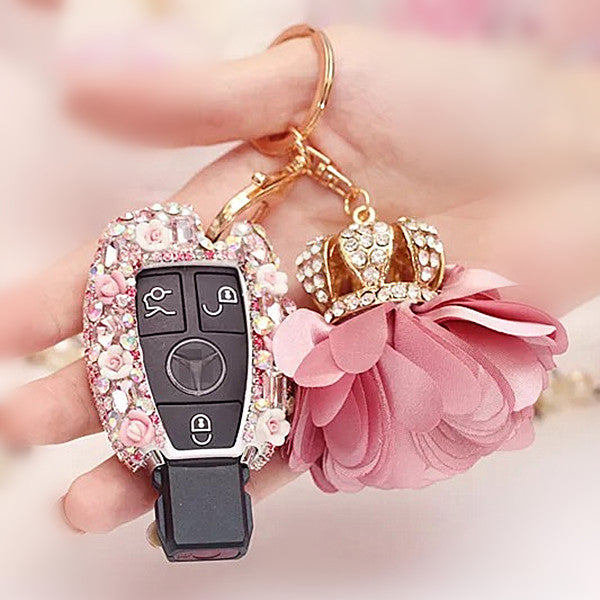 Mercedes Benz Pink Bling Car Key Holder with Rhinestones and flowers for - Carsoda - 1