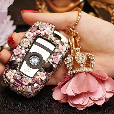 Multi-color Bling Car Key Holder with Rhinestones for BMW - Carsoda - 1