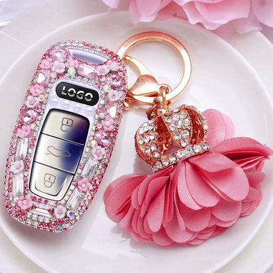 Audi Bling Car Key Leather Holder with Rhinestones- Pink/Purple for 2019 A6 A7 A8