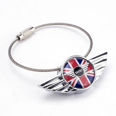 Mini Cooper Jack Union Checkers JCW Car Key Chain Keychain Key Ring Holder