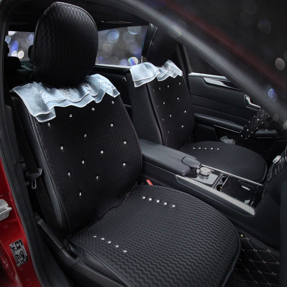 Black Mesh Car Seat cover w/ Rhinestone bling Crystals and Lace Five-pieces-set