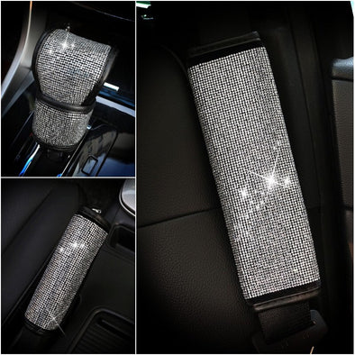 Bedazzled Car Accessories - Seat Belt Cover, Gear Shift Cover and Brake Cover
