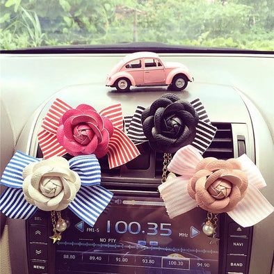 Camellia Flower and Bow - Air Vent Bling Decoration - Carsoda - 1