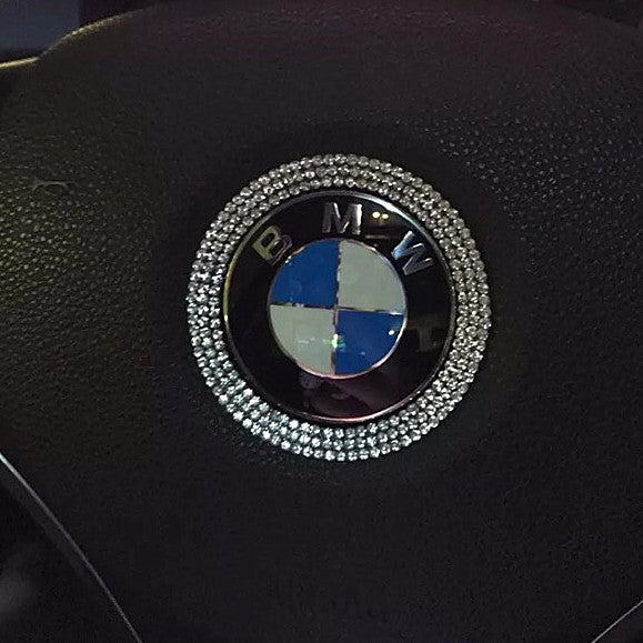 How To Unlock Steering Wheel >> BMW Bling Steering Wheel LOGO Sticker Decal – Carsoda