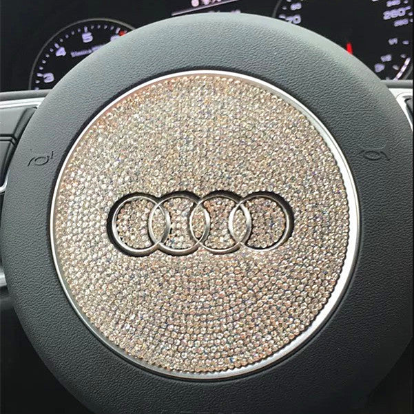 Bling Audi Emblem For Steering Wheel LOGO Sticker Decal