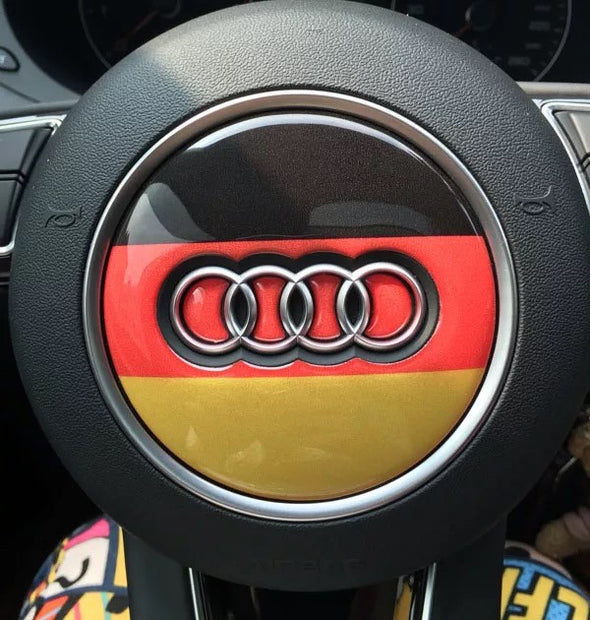 Germany Flag Three Colored Audi Emblem for Steering Wheel LOGO Sticker Decal