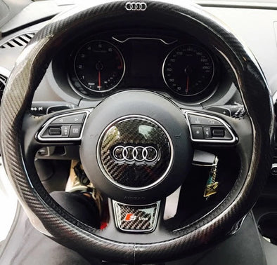 Carbon Fiber Audi Emblem for Steering Wheel LOGO Sticker Decal