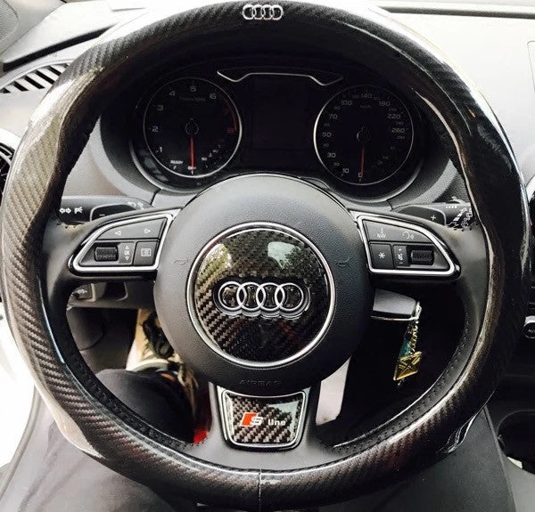 Carbon Fiber Audi Emblem For Steering Wheel LOGO Sticker