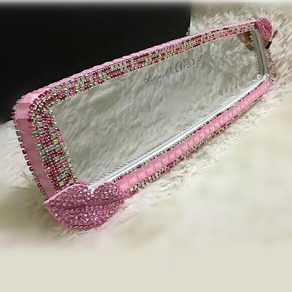 Bling Clip-on Chrome Car Rear View Mirror Cover - Pink Crystal Lip Attached