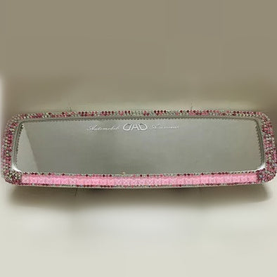 Bling Clip-on Chrome Car Rear View Mirror Cover with Baby Pink Rhinestones