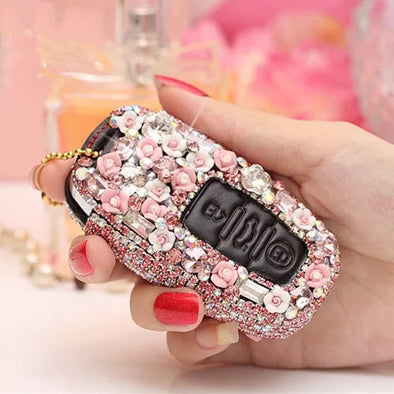 Audi Bling Car Key Leather Holder with Rhinestones- Pink/Purple