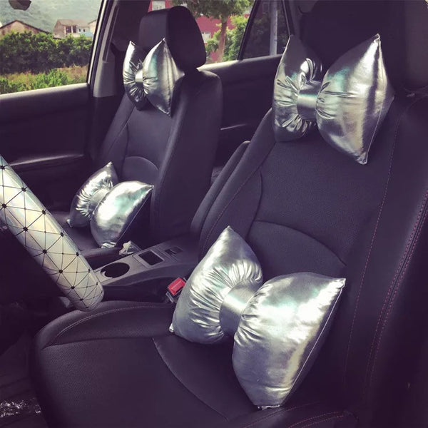 Cyber Chrome Silver Bow Car Seat Headrest and Waist Pillow - Carsoda - 1