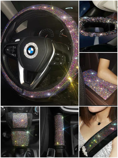 AB Crystal Bedazzled Bling Car Accessories -Neck Pillow Visor Organizor Tissue box Gear shift braker cover Steering Wheel cover